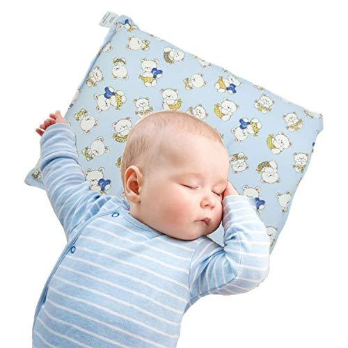 Cuscino Neonato made in Italy, utilizzato per prevenzione della plagiocefalia, cuscino anti testa piatta interamente lavabile fino a 40°C, (Azzurro)
