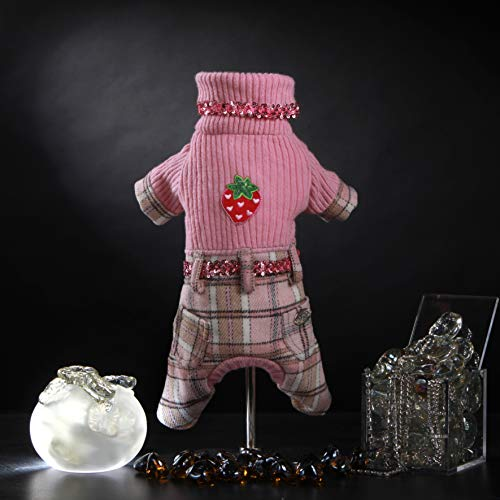 Trilly Tutti Brilli Stanford 4-benige romper, van wol, Schotse broek met patch roze, XS - 1 product