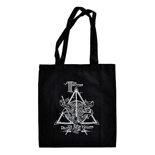 Elbenwald Harry Potter Shopper Beutel Heiligtümer des Todes Symbol Die DREI Brüder Frontprint 38 x 41 cm Baumwolle schwarz