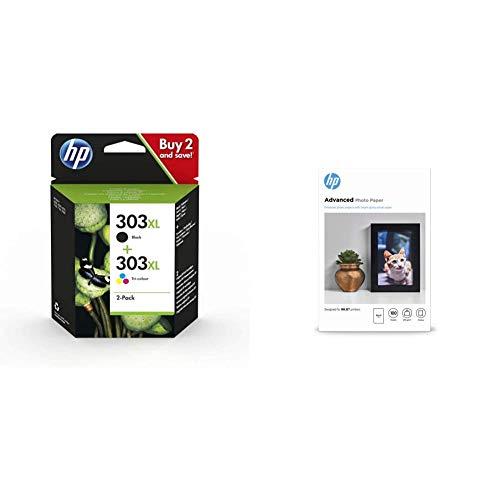 HP 303Xl Combopack 3Yn10Ae Cartucce Originali Ad Alta Capacità Da 1015 Pagine In Totale, Per A Getto Di Inchiostro Tango & Carta Fotografica Lucida Q8692A, Grammatura 250 G/M², Formato 10 X 15