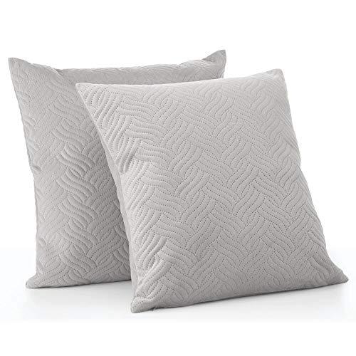 mDesign Juego de 2 fundas de cojín pespunteadas – Forro para cojines hipoalergénico de poliéster con aspecto de terciopelo – Suaves fundas decorativas para cojines de sofá sin relleno – gris