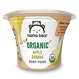 Amazon Brand – Mama Bear Organic Baby Food, 4 Ounce Cup, Pack of 12