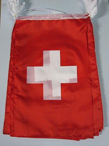 AZ FLAG Switzerland 12 Meters Bunting Flag 20 Flags 18'' x 12'' - Swiss String Flags 30 x 45 cm