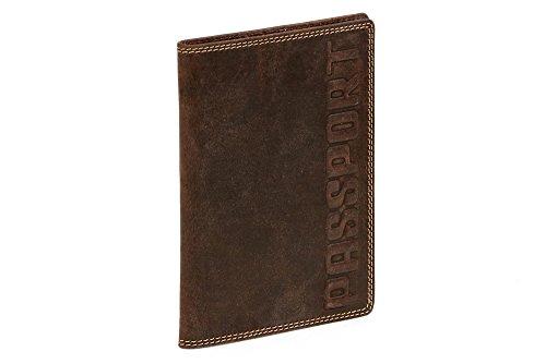 LEAS Reisepasshülle/-etui Dokumententasche Reisebrieftasche Passport Passhülle dokumentenecht hochwertig Echt-Leder, braun Vintage-Collection