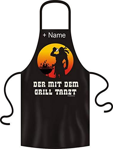 Tini - Shirts Lustige Grillschürze mit ihrem Wunschnamen Unisex: Der mit dem Grill Tanzt! Schwarze Kochschürze mit Namen !!