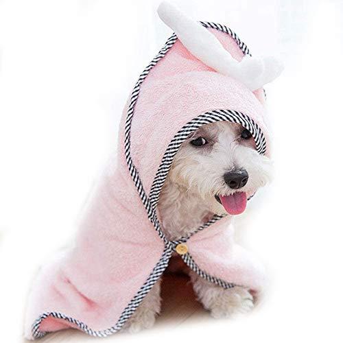 POTATO ペット用バスローブ 犬用バスタオル 速乾ペットローブ 超吸水 お風呂上がり 犬用ガウン猫用吸収シャンプー ボディータオル 超吸水ペット体拭き ふわふわドライ雨繰り返し使える(M,ピンク)