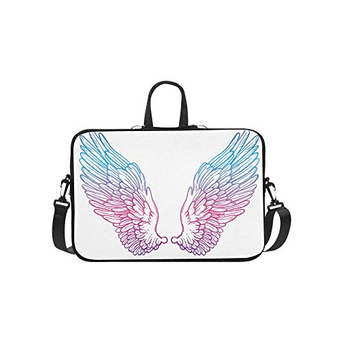 Laptop Sleeve Line Art Angel Wings Hand Waterproof Laptop Shoulder Messenger Bag Pouch Bag Case Tote with Handle Fits 14 Inch Netbook/Laptop