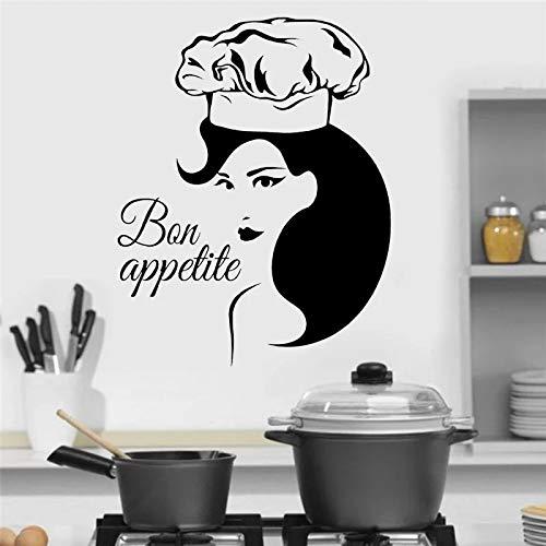 Pequeñas pegatinas de pared vinilo decoración del hogar cocina café restaurante hermosa mujer etiqueta de la ventana mural