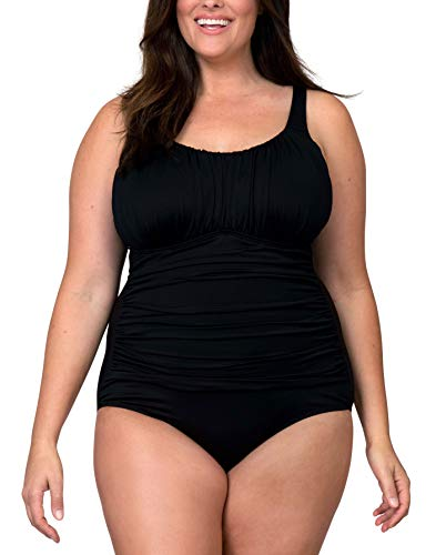 Caribbean Sand Plus Size Solid Black One Piece Swimsuit With Control Power Mesh Lining,Black,20