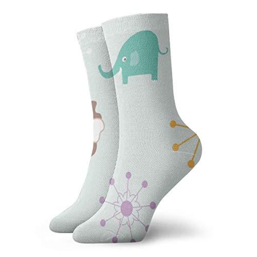 BJAMAJ Unisex Sokken Leuke Olifant Plant Patroon Interessant Polyester Crew Sokken Volwassene Sokken Katoen