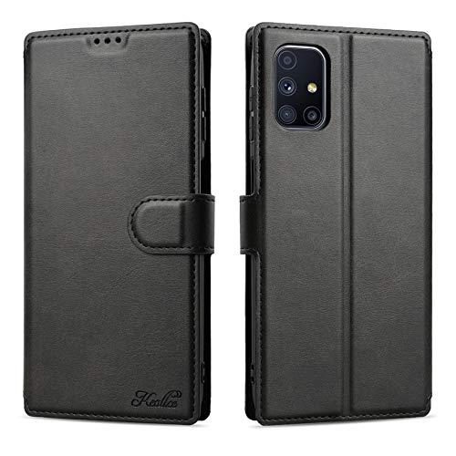 Keallce für Samsung Galaxy M51 Hülle, Handy Lederhülle PU Leder Hülle Brieftasche Handytasche Cover Kompatibel für Samsung Galaxy M51 Ledertasche-6.7 inch, Schwarz