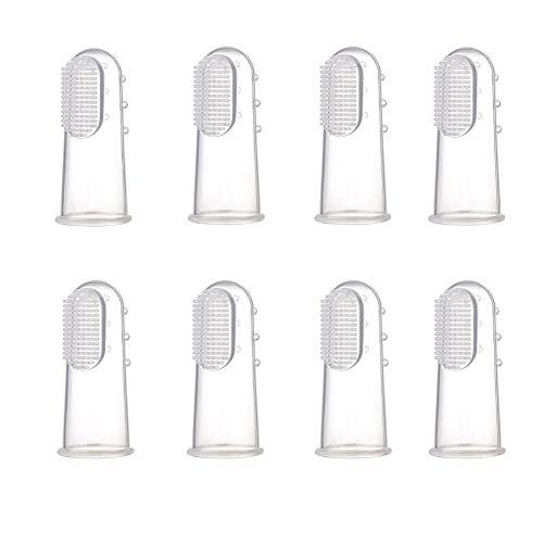 Bello Luna 8Pcs hundezahnbürste für große Hunde, Haustier Fingerzahnbürste Dentalhygiene Bürsten für Hund und Katze - L