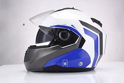Sparco Riders Motorrad Helm Modular, weiß/blau, Größe L