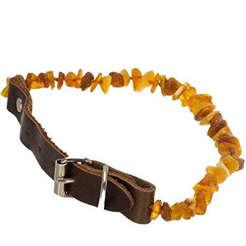 Hundehalsband Zeckenmittel Hund Bernsteinkette Floh- und Zeckenschutz Zeckenhalsband unbehandelte Naturbernstein Lederhalsband Größe L #1241