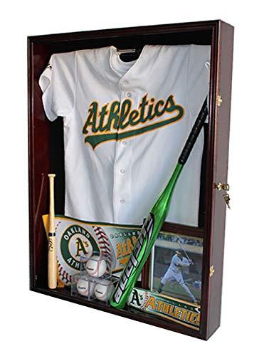Extra Deep Jacket, Military Uniform, Sport Jersey Shadow Box Display Case Cabinet (Mahogany)