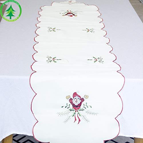Christmas Table Runners Creative Vecchie Tovaglie Ricamate Natalizie Lunghe Decorazioni Natalizie Da Tavola 38Cmx200Cm Bianco Babbo Natale