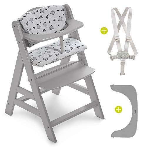 Hauck Hochstuhl Alpha Plus - Mitwachsender Kinderhochstuhl mit Gurt und Sitzkissen - Grau Nordic Grey