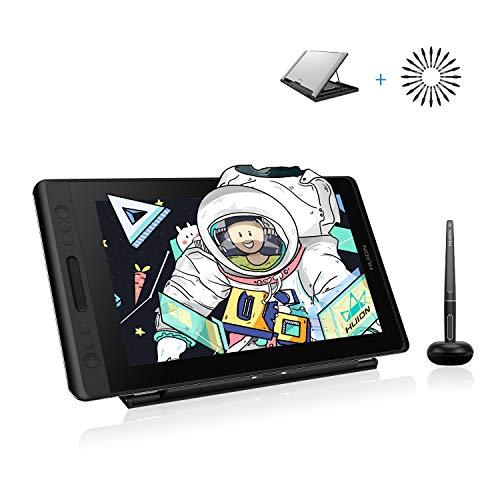 HUION Kamvas Pro 13 Tableta Grafica con Pantalla con Función de Inclinación del lápiz sin Batería PW507 y Pantalla Antideslumbrante Totalmente Laminada sRGB al 120%, con Estante de Soporte