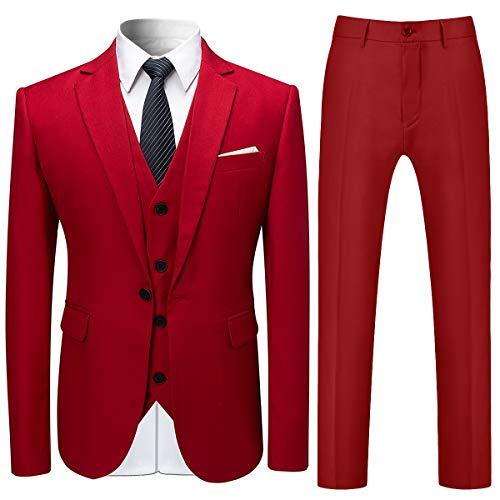 Allthemen Herren Slim Fit 3 Teilig Anzug Modern Sakko für Business Hochzeit Party Rot Small