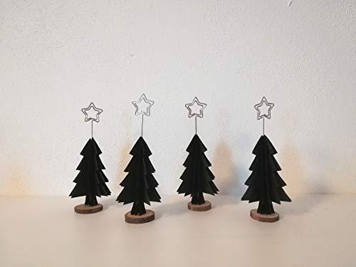 4er-Set Tischkartenhalter für Weihnachten aus schwarzem Papier in Tannenbaumform//Christbaum/Platzkartenhalter//Weihnachtskarte//Weihnachtsdekon/Tischdeko/ Weihnachtsdeko/Christbaum/Weihnachtsbaum