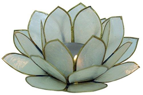 Guru-Shop Lotus Teelicht Muschel 11 cm, Himmelblau, Muschelscheiben, Farbe: Himmelblau, Teelichthalter & Kerzenhalter