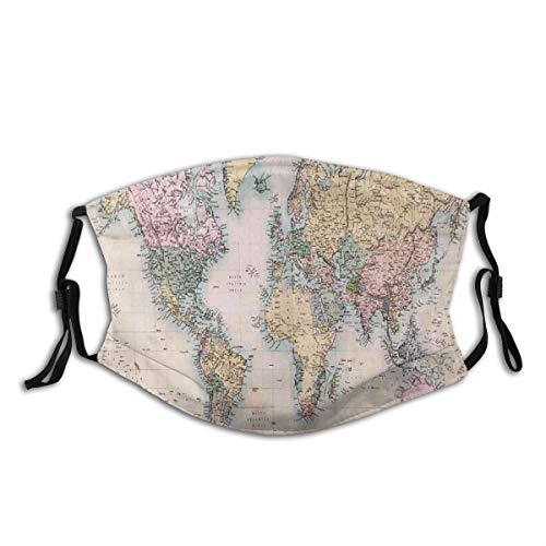 UnisexReusableNoseFaceCover,World Map Original Old Hand Colored Map Of The World Anthique Chart For Old Emperors Print,DustMouthCoverAdjustableEarloopswithReplaceableFilter