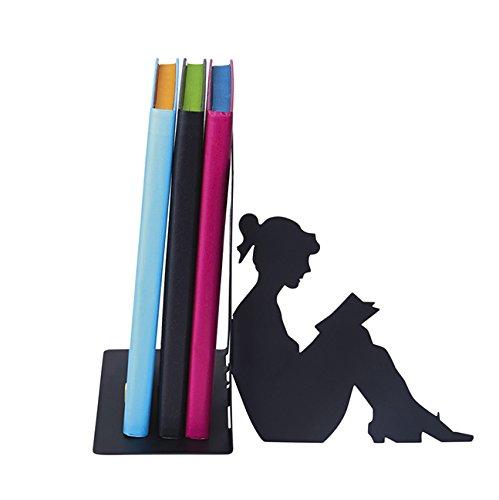 moses. Buchstütze Lesende Frau libri_x , hochwertiger Buchständer aus Metall , schwarze Metall-Buchstütze mit wunderschön ausgestanztem Motiv