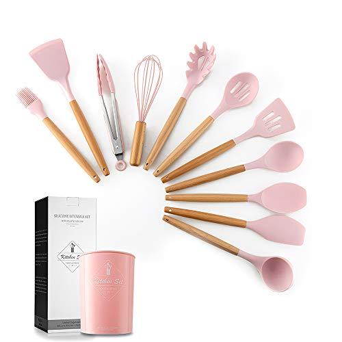 Decdeal Küchenutensilien Set 11Pcs Silikonbesteck mit Holzgriff Enthält Einen Aufbewahrungseimer Pink Geeignet für Die Küche