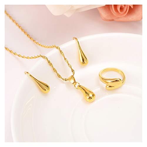 SFQRYP Juego de joyas de oro etíope con cuentas de gota de agua, collar y pendientes, anillo africano, boda, novia, eritrea, regalo de fiesta para mujer (talla única)