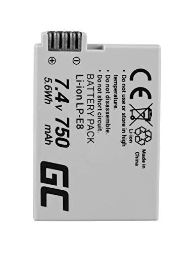 Green Cell® LP-E8 LPE8 Batería para Canon EOS 550D 600D 650D 700D EOS Rebel T2i T3i T4i T5i Kiss X4 X5 X6 Cámara, Full Decoded (Li-Ion Celdas 750mAh 7.4V)