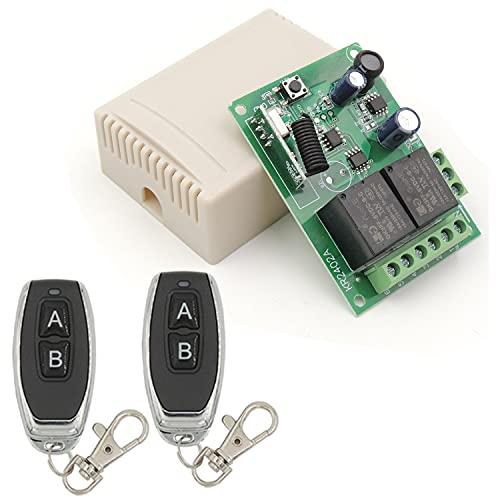 Interruptor de control remoto seguro DC 12 V 24 V 30 V inalámbrico 433 MHz RF 10 A receptor de relé con 2 transmisores, para motor, luz, puerta de puerta, controlador de bricolaje