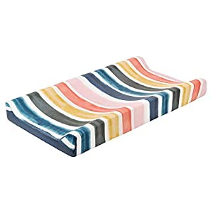"""Baby Floral Diaper Changing Pad Cover Cradle Mattress Sheets, Infant Stretchy Fabric Changing Table Cover Changing Mat Cover Baby Nursery Diaper Changing Pad Sheets 32""""X 16"""" (Rainbow Strips)"""