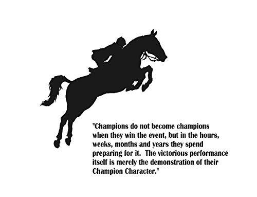 Vinilo adhesivo para pared, diseño de caballo, campeones, caballo, cita de equipo deportivo, hogar, oficina, decoración de pared, camión, caballo, remolque.