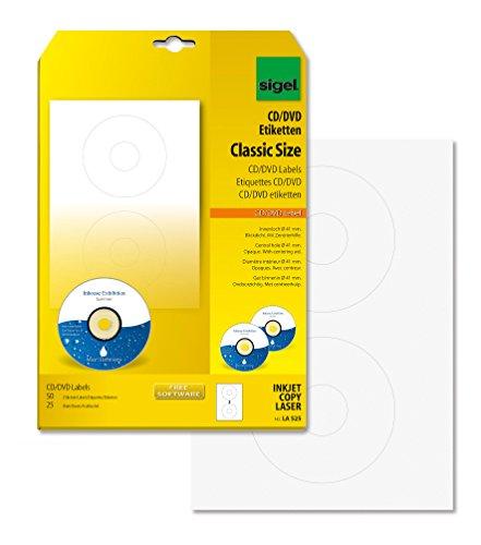 SIGEL LA525 CD-/DVD-Etiketten weiß, blickdicht, 50 Etiketten = 25 Blatt, mit Zentrierhilfe, ClassicSize 41 mm Innenloch