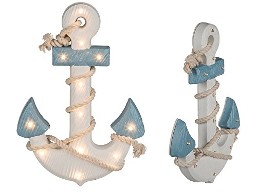 Out of the blue 830369 Anker mit Seil und 12 warmweißen LED, Mehrfarbig