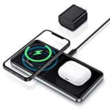 ESR HaloLock 2-in-1 Magnetic Wireless Charging Station [Automatic Magnetic Alignment] [Includes Fast Charging Adapter] for iPhone 12/Pro, AirPods, Black