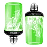 Omicoo LED Flame Effect Light Bulb (2 Pack), Green Fire Bulb,4 Modes Flame Light Bulbs with Gravity Sensor, E26 A19 Base, Vintage Flame Bulb for Atmosphere Festival Christmas Decoration