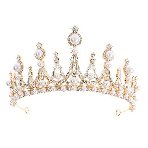 Minkissy Corona de Novia Barroca Diadema Cristal Diamante de Imitación Reina Boda...