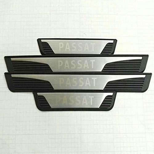 YCGLX 4 Piezas para Volkswagen VW Passat B7 VW 2011 Acero Inoxidable Coche Barra Puerta Umbral, Bienvenida Estilo Pedal Protección Pegatina Decorativos Accesorios