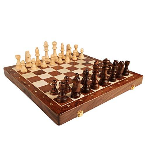 CHEN Schach Schach-Set-Massivholz Schachbrett Massivholz-Schach-Stücke mit Beflockung Basis, Fach in der Board zu speichern Jedes Stück schachspiel (Größe : Large)