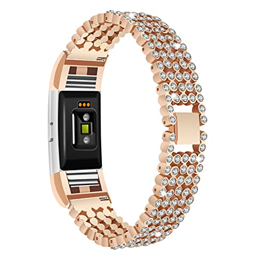 GhrKwiew Charge 2 Band Bling, Jewelry Bling Diamond Cinturino per Orologio in Acciaio Inossidabile Cinturino a sgancio rapido Sostituzione con Strass per Fitbit Charge 2 (Dark Gold)