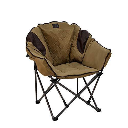 TR Safari XL Club Chair Khaki Waxed Cotton Dark Brown 300lbs Weight Capacity