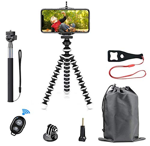 Phone Tripod Selfie Stick Kit, SmilePowo Flexible Tripod Stand Extensible Selfie Stick with Bluetooth Remote/Adapter/Clip for iPhone,Android Phones,GoPro Sports Action Camera,Small Digital Camera (M)