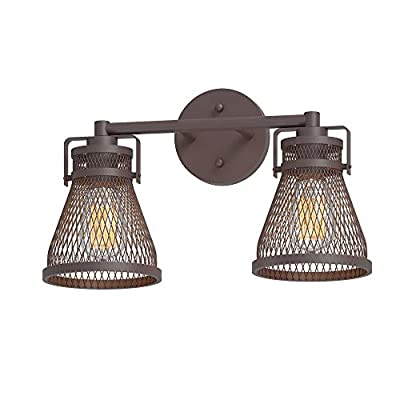 Inlight Industrial Vanity Light Oil Rubbed Bronze, Farmhouse Bathroom Light Fixture Over Mirror with Meshed Metal Shade, 2-Light(Bulb Not Included), Damp Location Rated, ETL Listed, IN-0441-2-BZ
