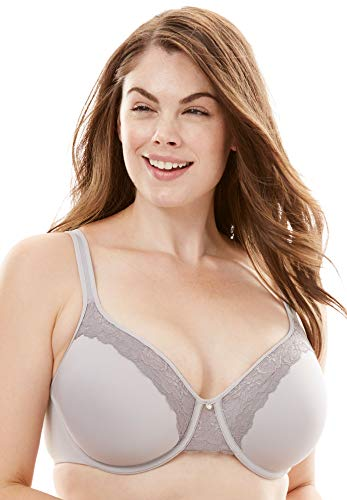 Bali Designs Women's Bali One Smooth U Ultra Light Lace with Lift Underwire, Crystal Grey/Silver Filagee, 42B