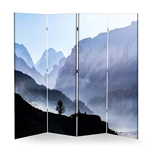 4 Panel Wall Divider Silhouette of Tree on Mountain Background Misty Morning in Himalayas Folding Canvas Privacy Partition Screen Room Divider Sound Proof Separator Freestanding Protective Divider