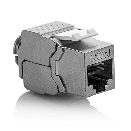 deleyCON 1x Keystone Modul CAT 6a Jack - Vollgeschirmt STP RJ45 Buchse Werkzeugfrei Dank Snap-In Montage CAT Rohkabel 500Mhz 10GBit/s