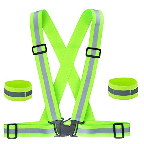 Sysoon Reflektierende Weste und tragbare Gurtarmbänder, verstellbare Laufausrüstung, Sicherheitsweste und Armband für Outdoor, Laufen, Radfahren, Wandern, Motorradreiten