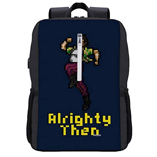 Ace Ventura Alrighty Then Pixellated Backpack Daypack Bookbag Laptop School Bag with USB Charging Port