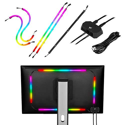 Corsair iCUE LS100 Kit de Iniciación de Tiras LED Inteligentes Controlador de Iluminación, LED Direccionables Individualmente, Difusor de Luz Integrado, Instalación Rápida, 2X 450 mm/250 mm Tiras